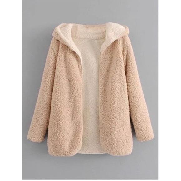 5c1caa9c989ed Zaful Hooded Open Front Lamb Wool Teddy Coat